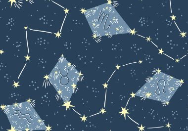 pattern with kites in the star sky