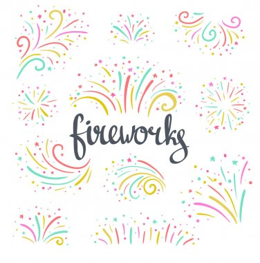 Hand drawn colorful Christmas fireworks
