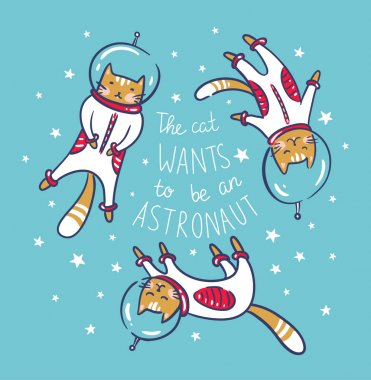 Cats astronauts in space