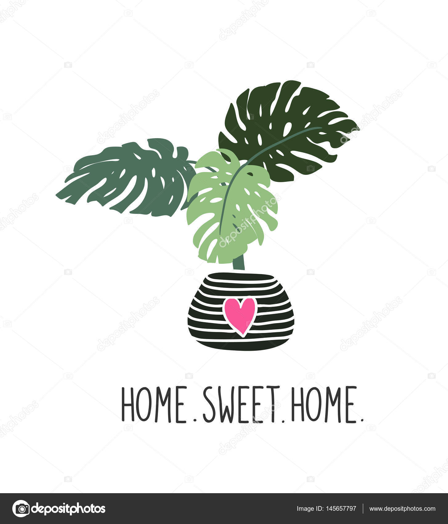 hand drawn tropical house plant — stock vector © utro-na-more