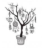 Tree with boho decorations