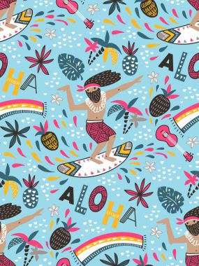 Seamless pattern with  surfers