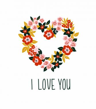 card with floral heart and lettering - 'I love you'.