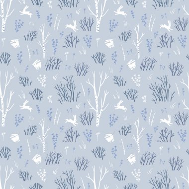 Pattern with northern trees and white hares