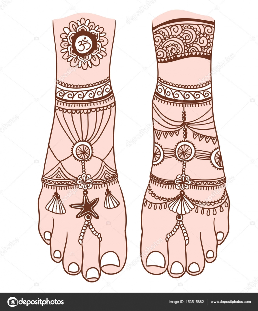 Woman foot with magic mehendi stock vector utro na more 153515882 woman foot with magic mehendi and boho jewelry vector illustration isolated tattoo design mystic magic symbol for your print biocorpaavc Gallery
