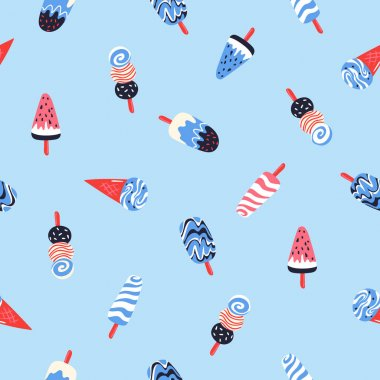 Hand drawn yummy seamless pattern with ice creams on blue background