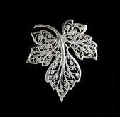 Vintage filigree silver brooch Grape leaf