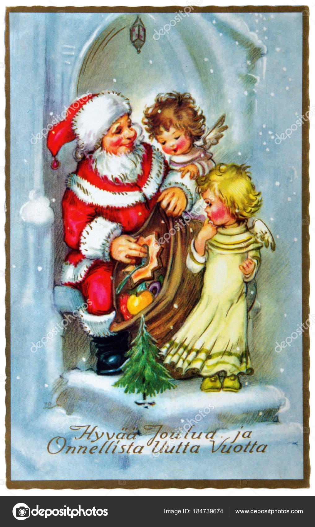 Cartoline Di Natale Depoca.Cartolina D Epoca Con Auguri Di Natale Foto Editoriale