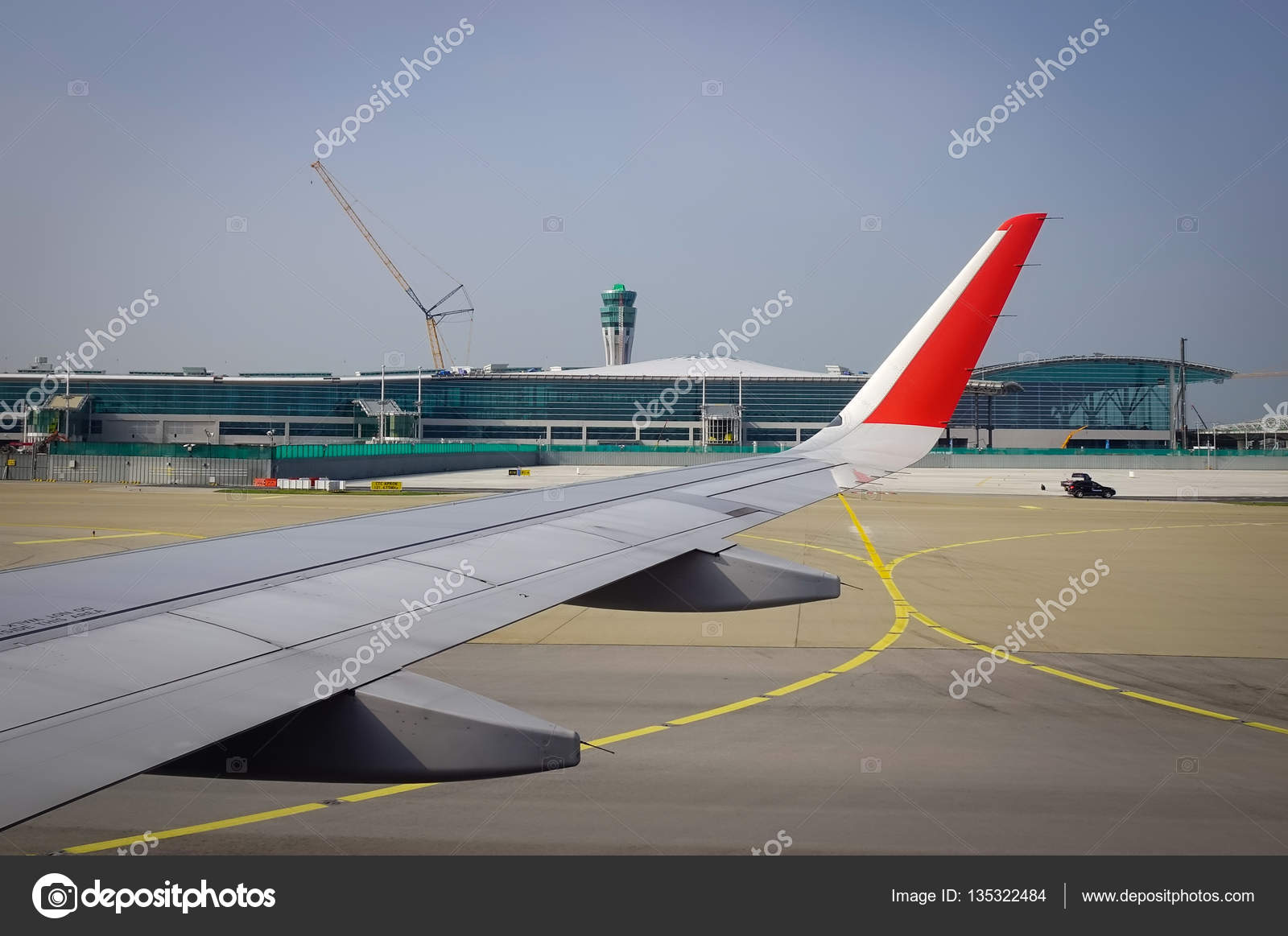 Wing Airplane Airport Background Sunny Day View Window Seat