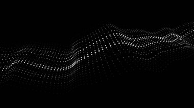 Wave of particles. Artificial intelligence. Abstract background with a dynamic wave. Futuristic dark vector illustration.