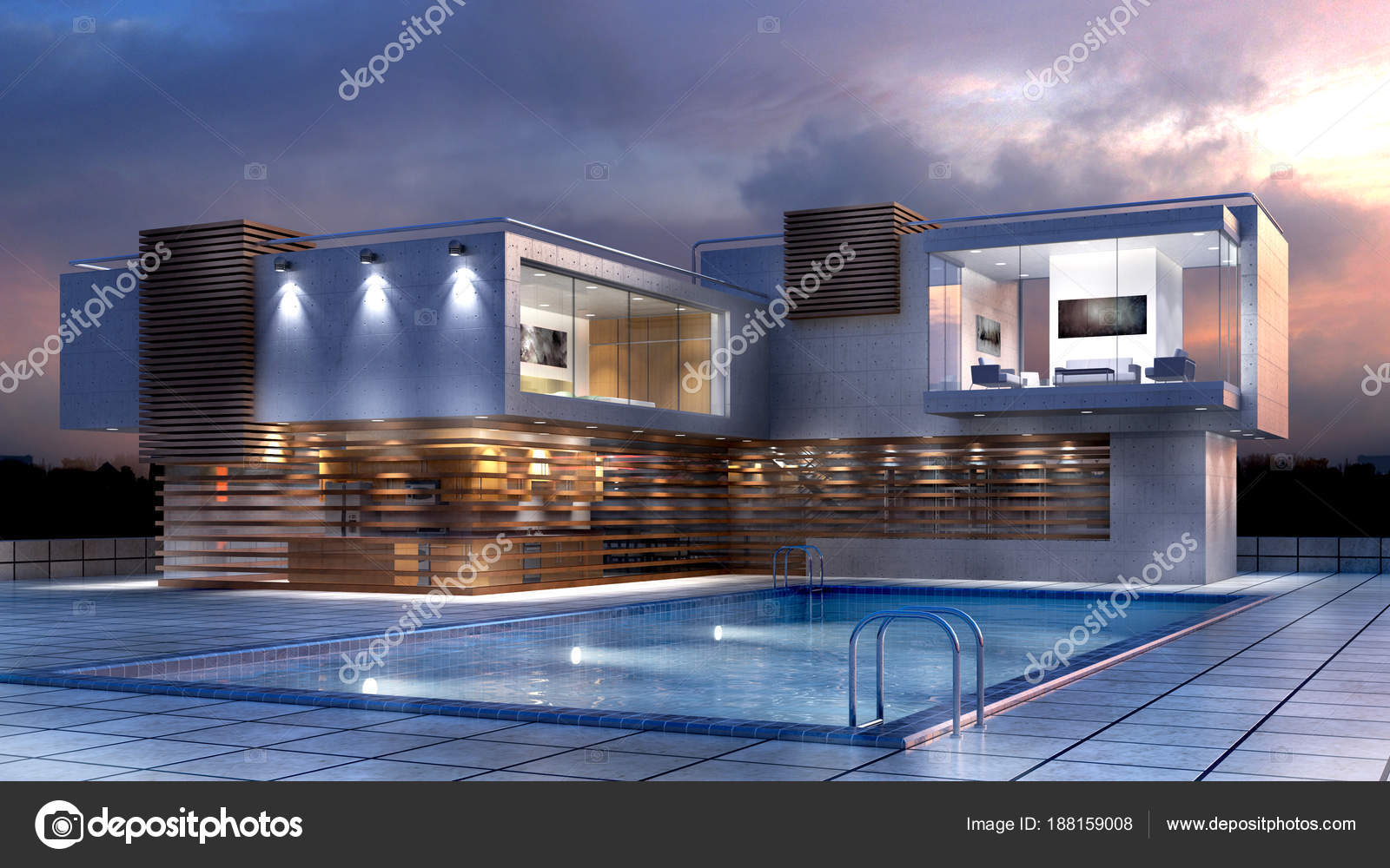 3D illustration d\'une maison de luxe moderne avec piscine ...
