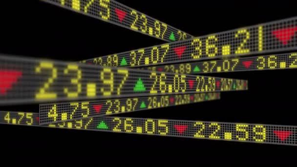 4K Börsenzusammenbruch Konzept mit Tickern gleiten und dann auflösen, so dass die Boards leer.
