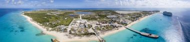 Aerial 180 degree panorama of the entire island of Grand Turk