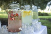 Fotografie Cold fruit water at outdoor reception