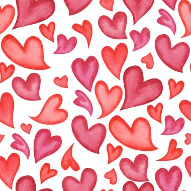 Seamless pattern with red watercolor painted hearts on white background stock vector