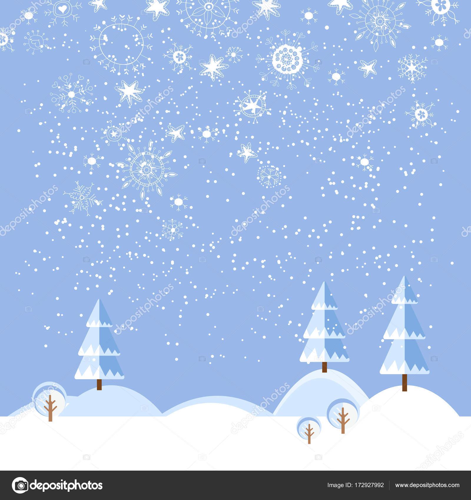 Weihnachten Winter flache Landschaft Hintergrund — Stockvektor ...