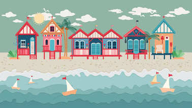 Landscape with Beach Huts in a Row