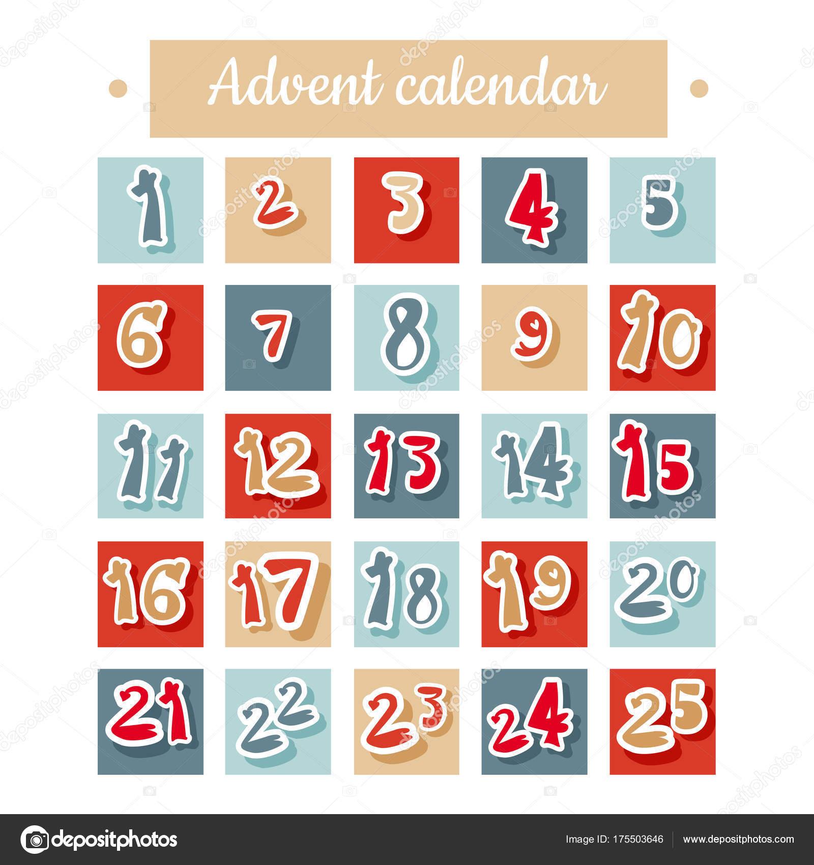 Calendario de Adviento de Navidad en rojo, azul y blanco — Vector de ...
