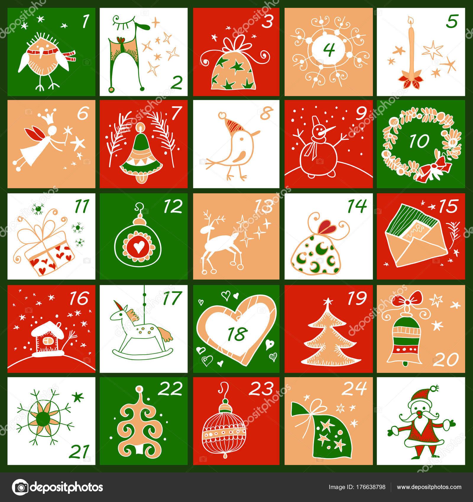 Calendario Adviento Infantil.Calendario De Adviento Cartel Infantil De Navidad Archivo