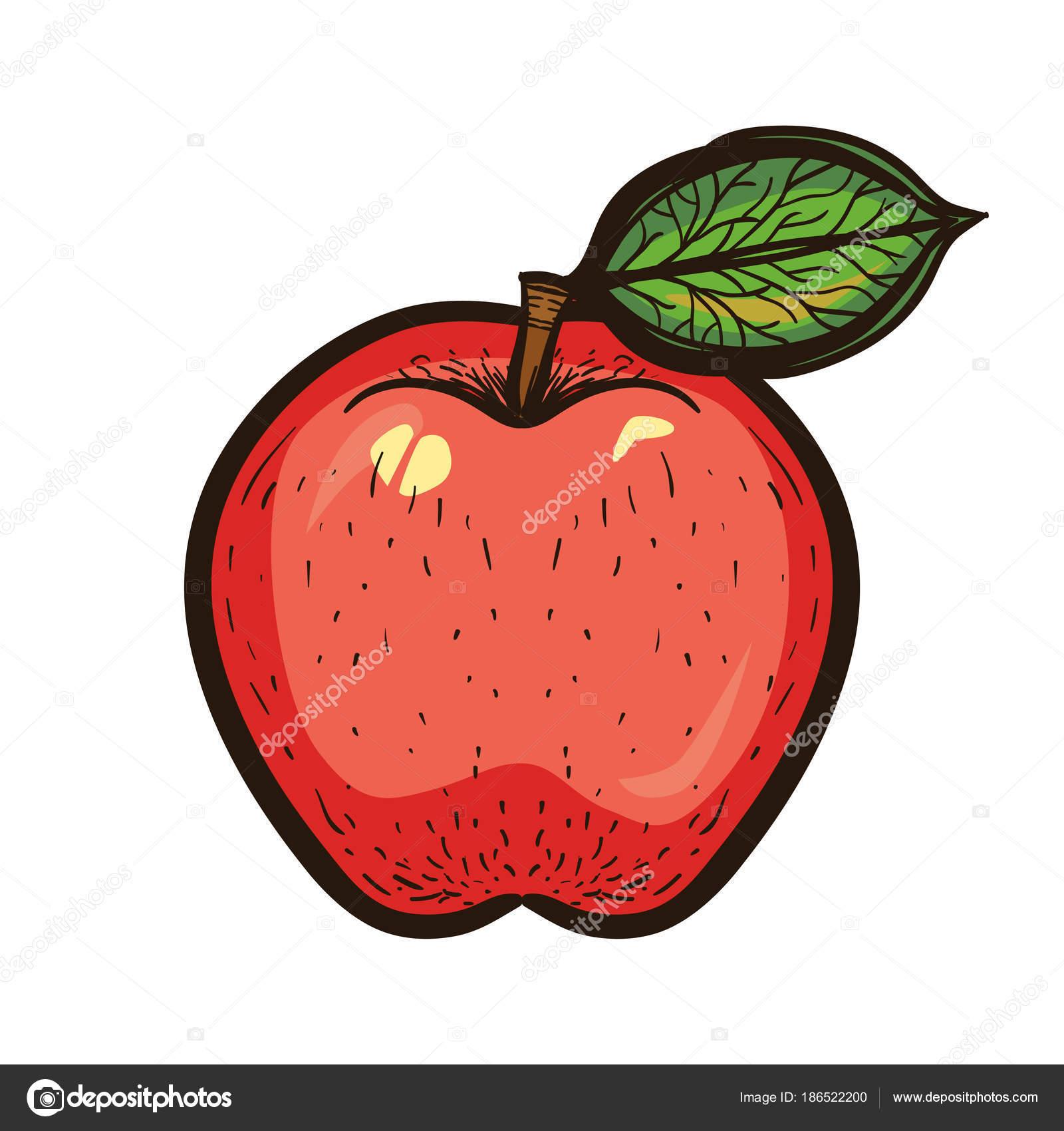 Mano dibujar dibujo color rojo manzana con hoja — Vector de stock ...