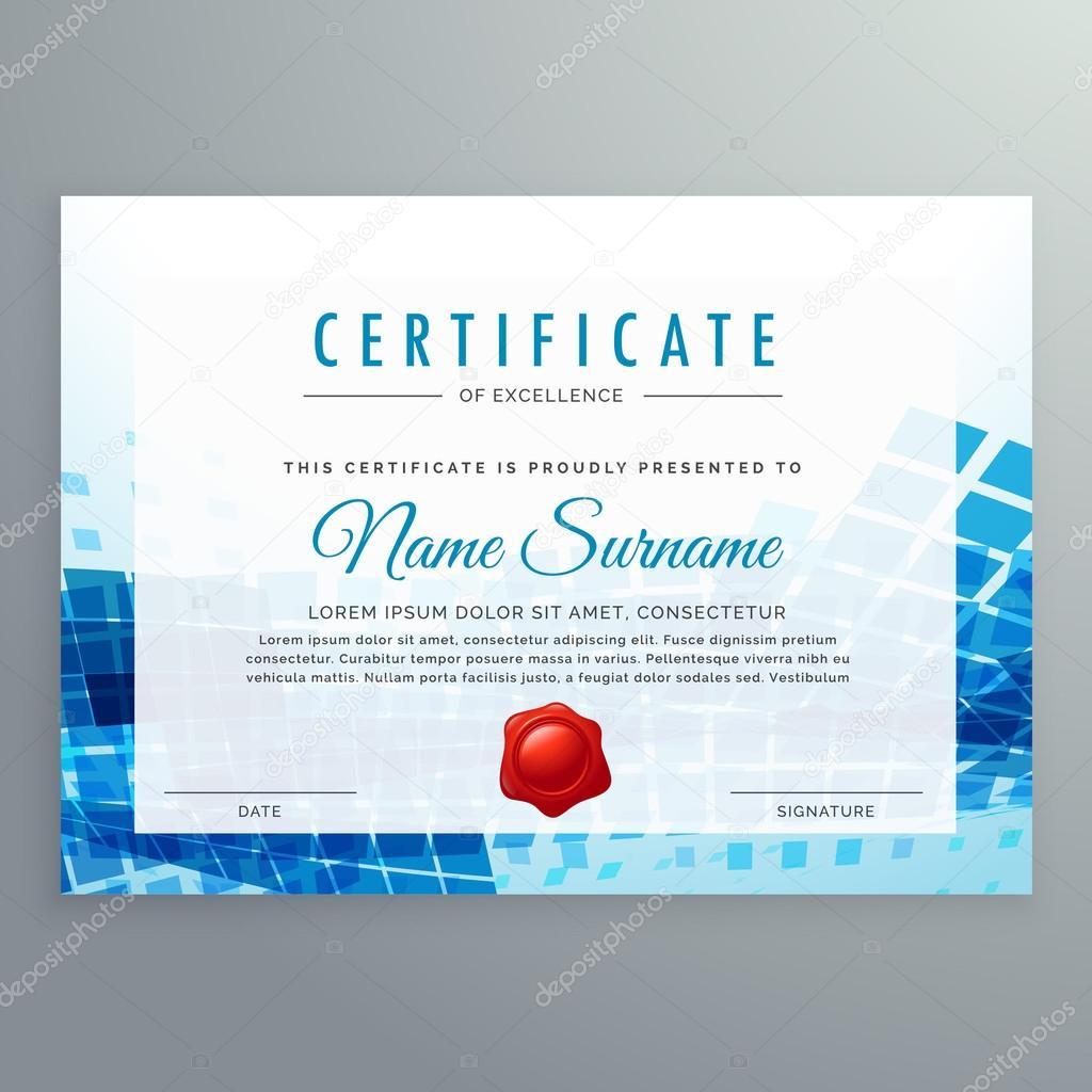 plantilla de certificado de logro con formas abstractas de azul ...