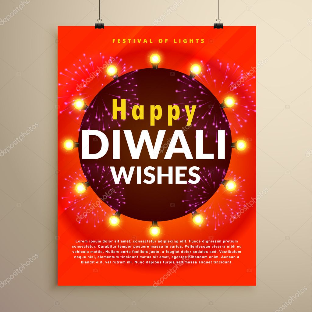 Happy Diwali Wishes Greeting Flyer Template Design Stock Vector