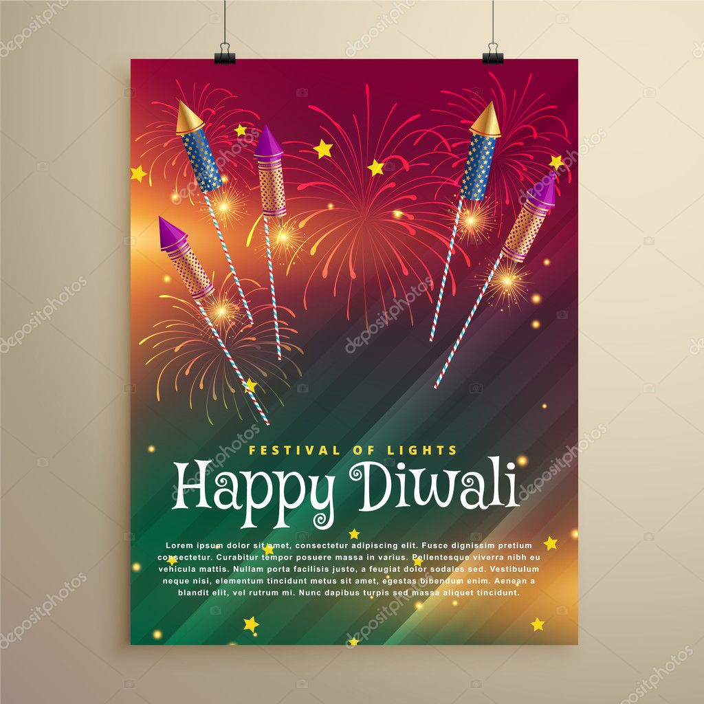 amazing diwali festival flyer template with fireworks and flying rockets vector by starline