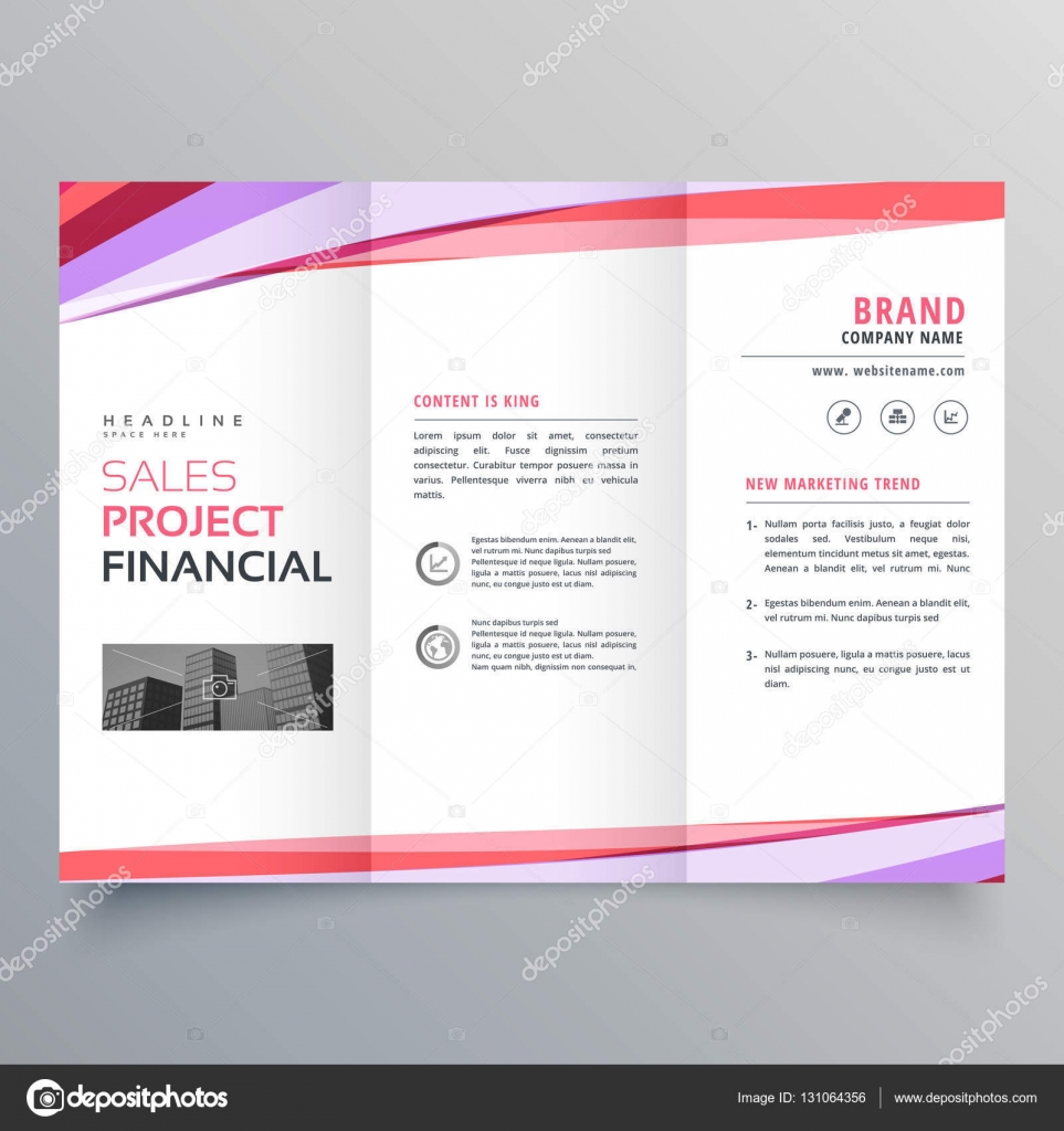 diseño de plantilla de folleto triple creativo negocio con colorido ...