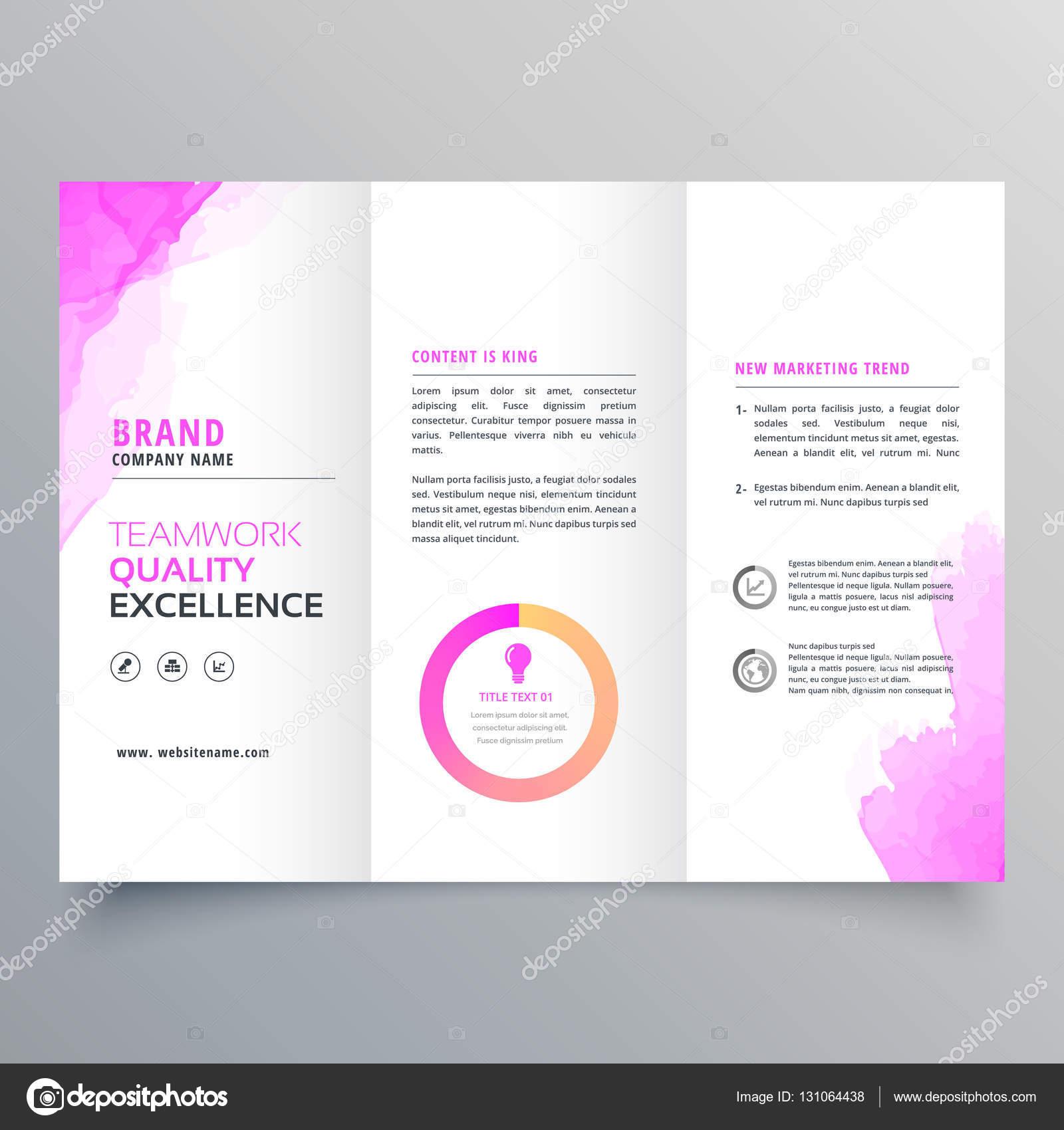 plantilla de diseño de folleto empresa negocio triple con marketing ...