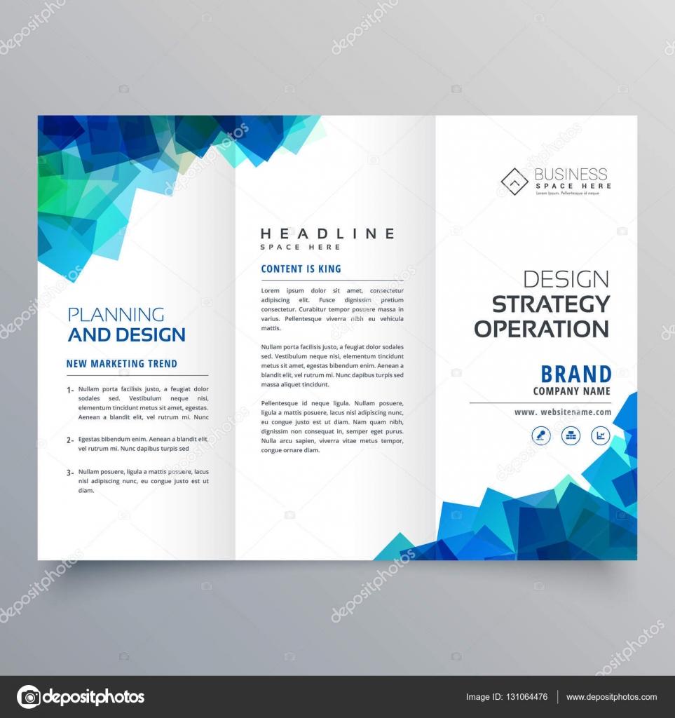 plantilla de diseño de folleto comercial triple con sha azul Resumen ...
