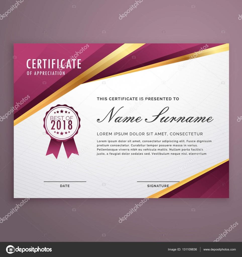 modern certificate template design with golden stripes stock vector - Modern Certificate Template