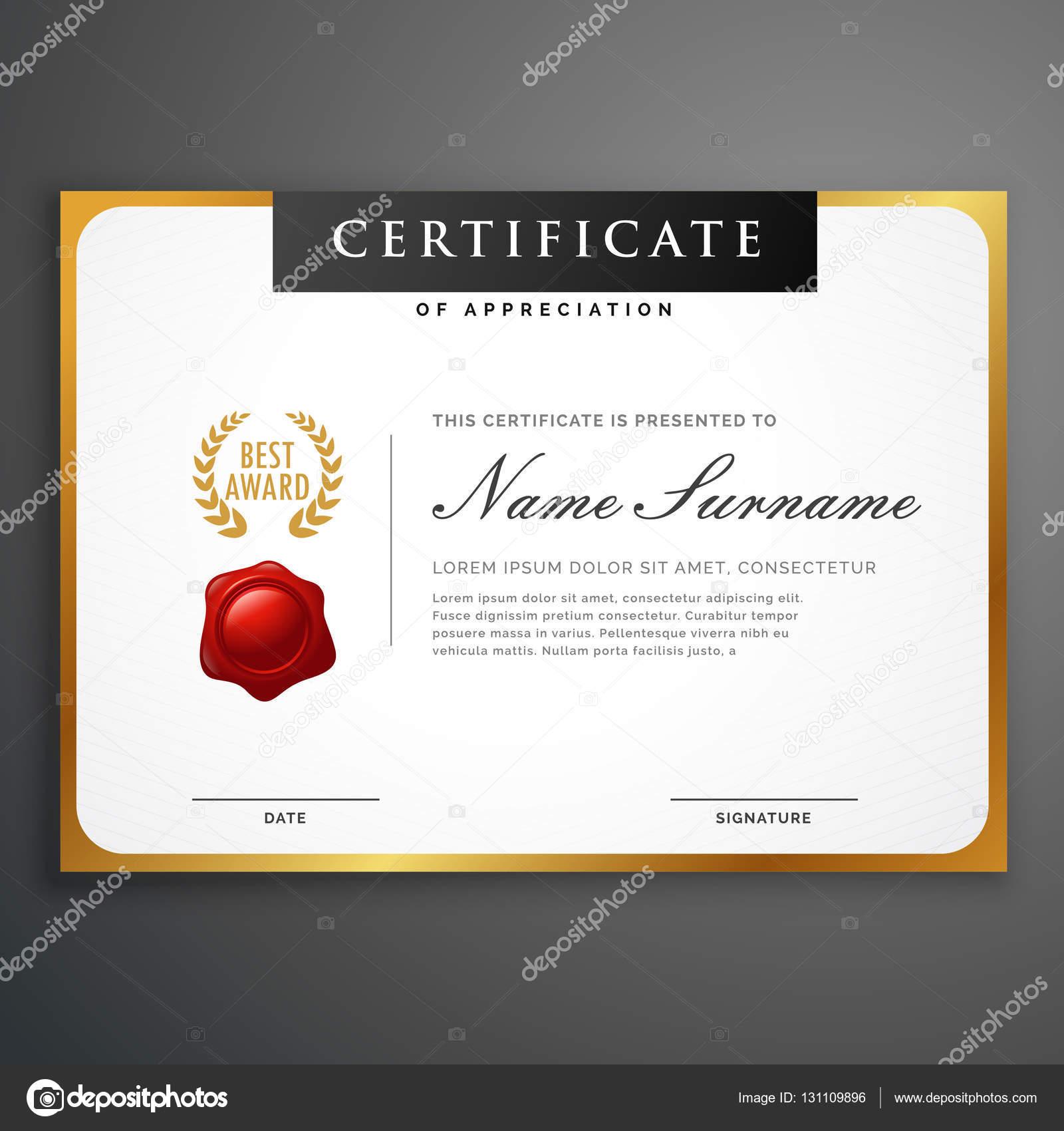 elegante sauber Zertifikat Vorlage Layout Design mit goldenen bor ...