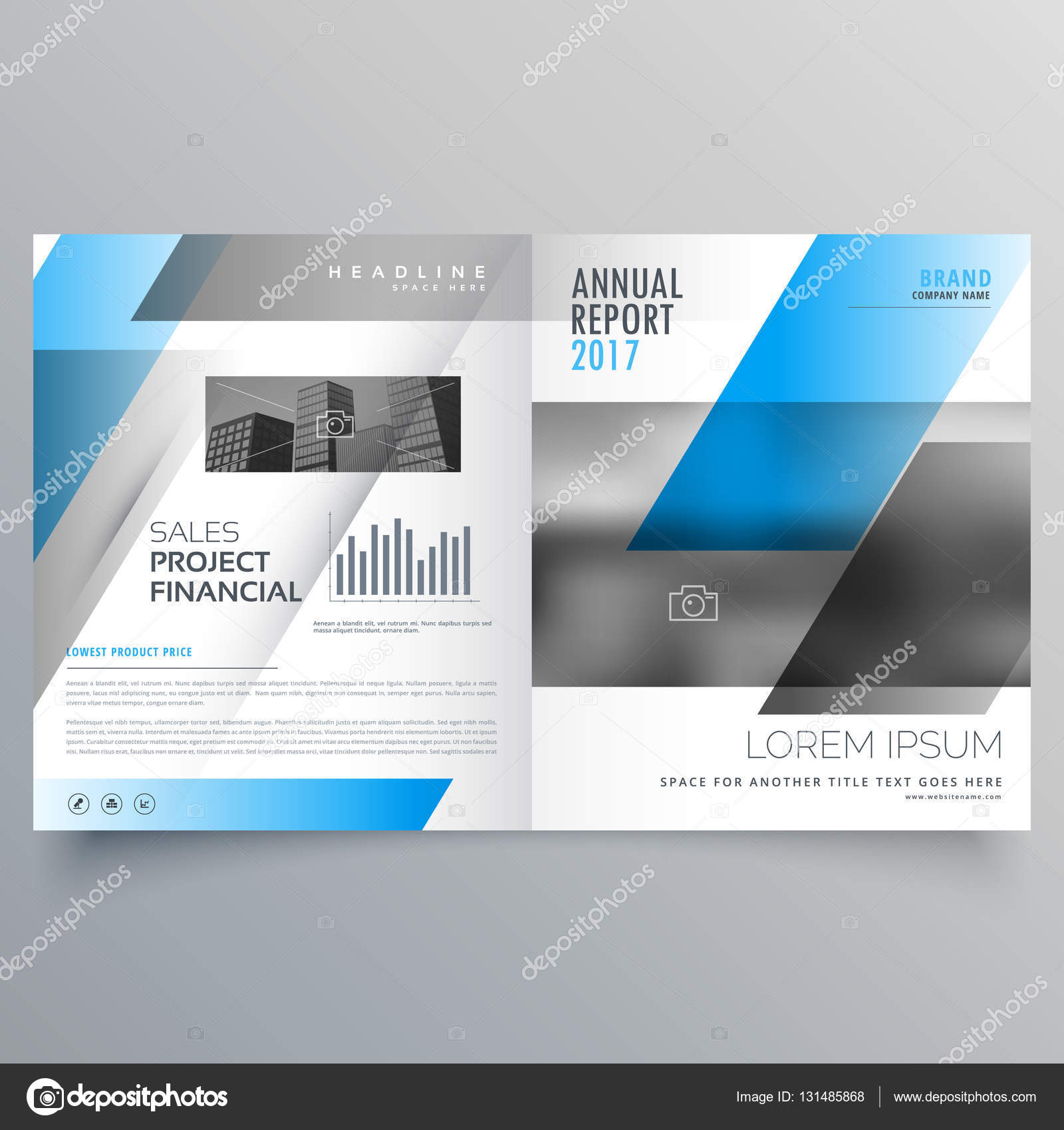 Modern Business Bifold Brochure Template With Blue Black Abstrac - Bifold brochure template