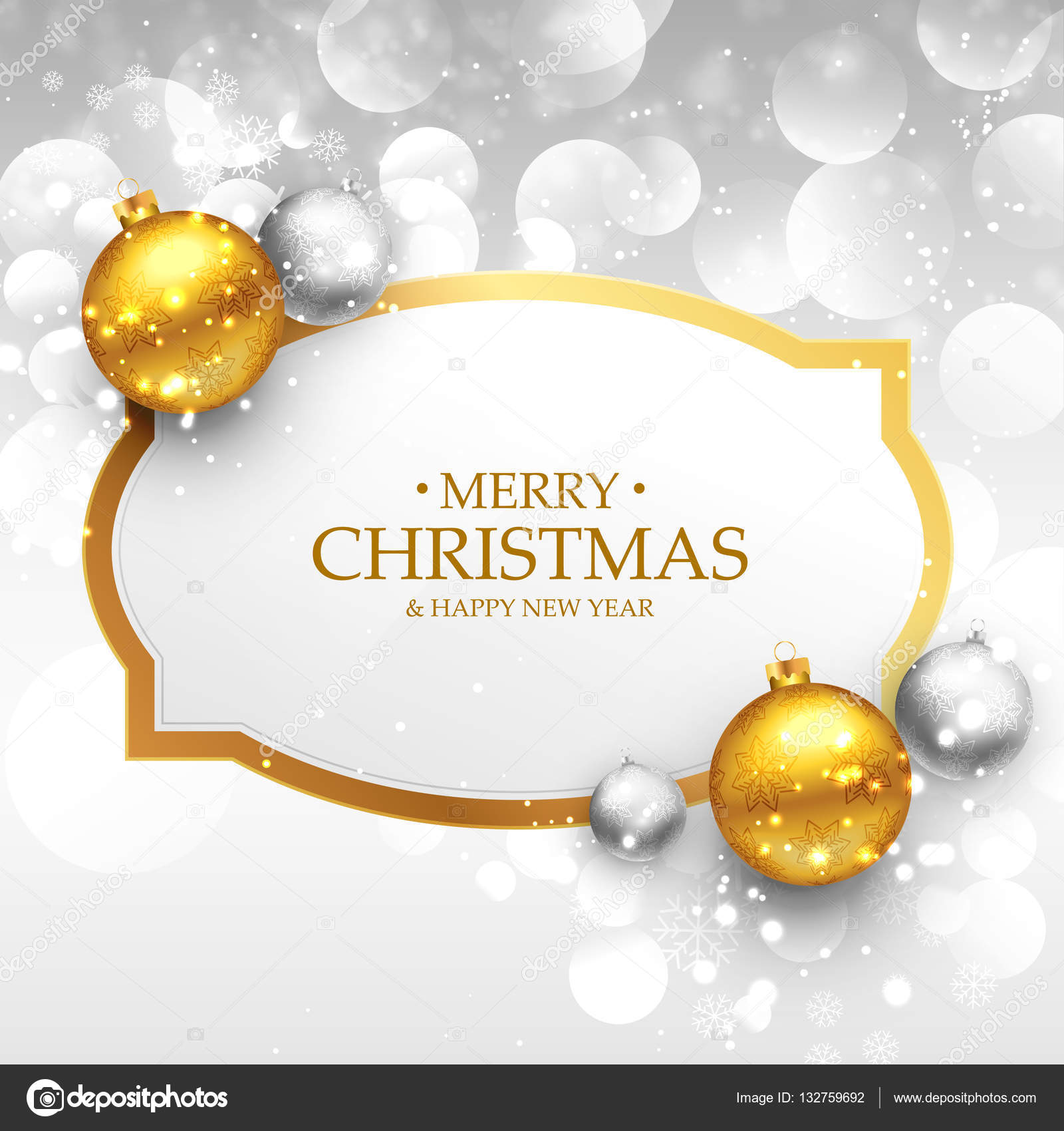 Beautiful Merry Christmas Greeting Design With Realistic