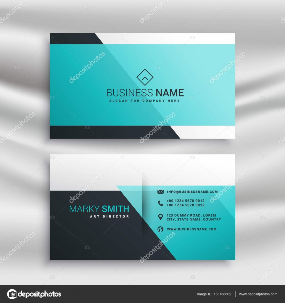 Elegant Business Card Design Template With Blue Shapes