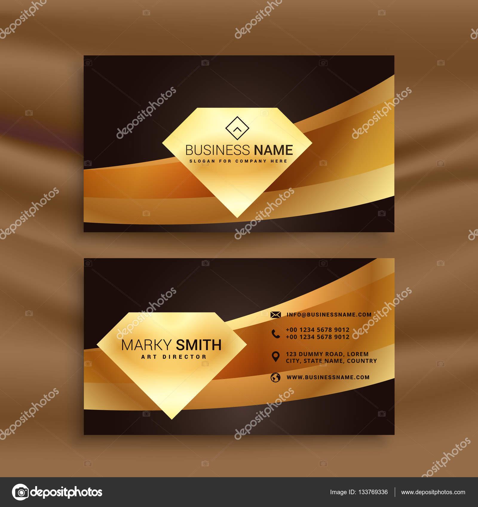 Modele De Carte Visite Premium Avec Forme Donde Dor Illustration Stock