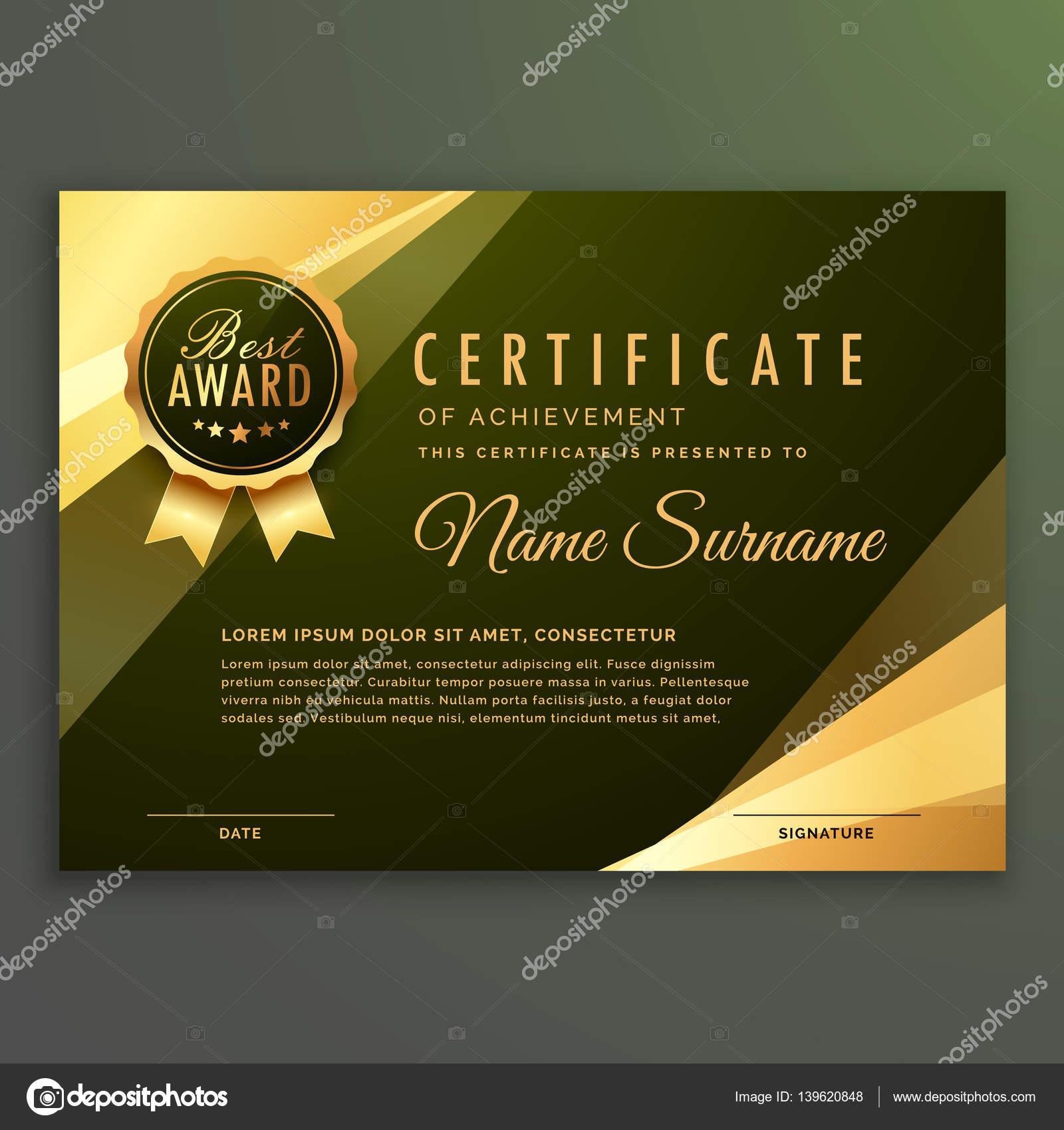 Golden Premium Diplom Zertifikat-design — Stockvektor © StarLine ...