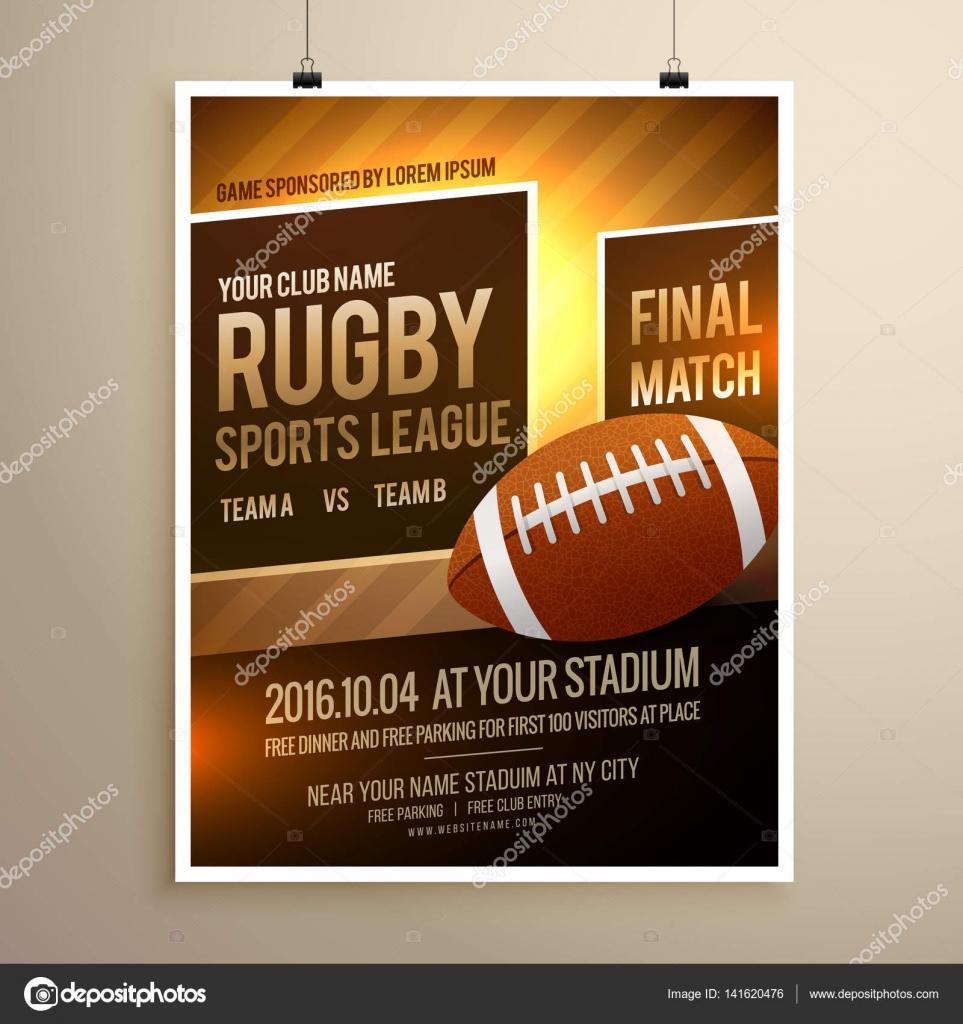 Rugby-Sport-Flyer-Design-Vorlage — Stockvektor © StarLine #141620476