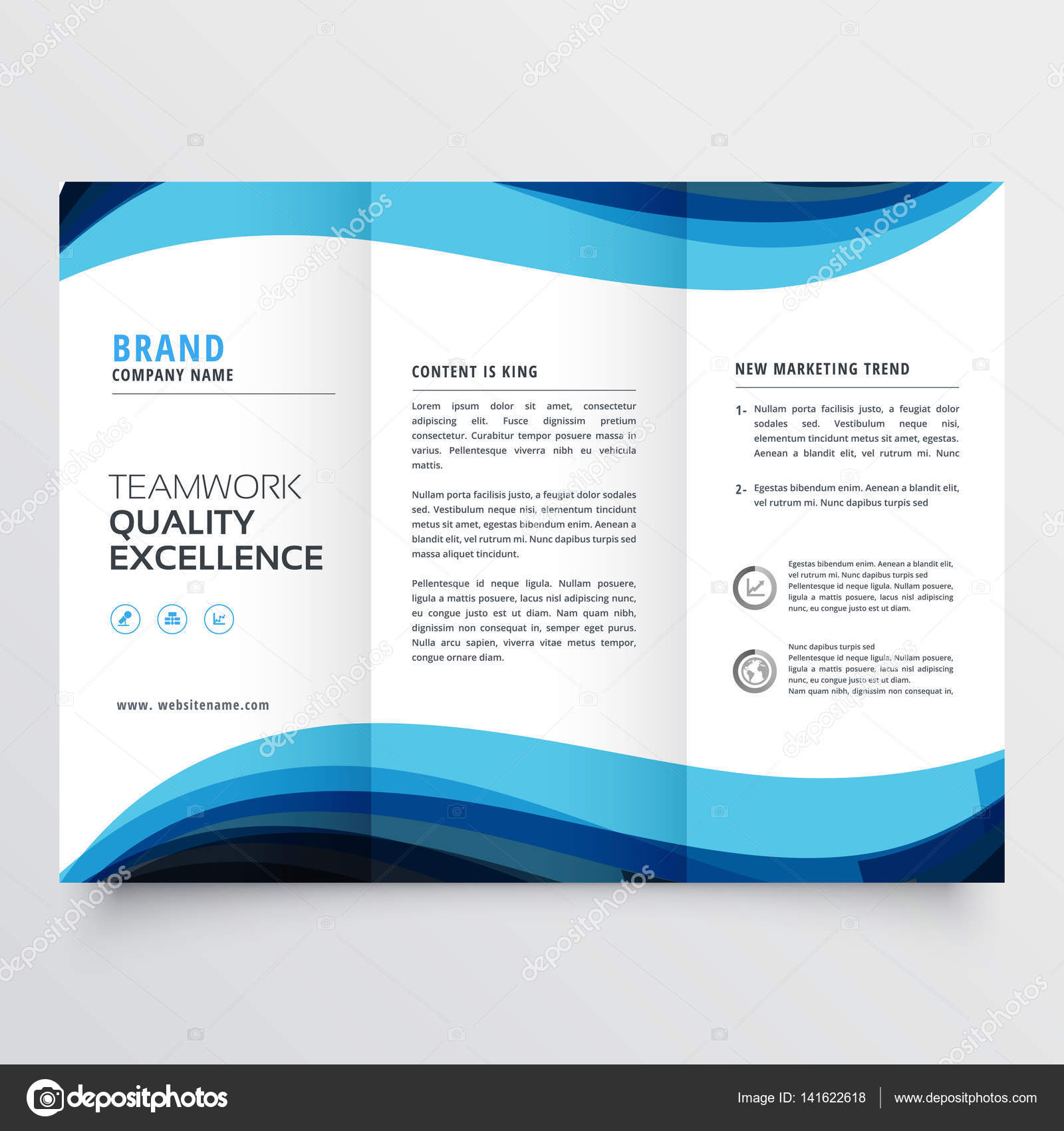Business Trifold Brochure Design Template Stock Vector - Tri fold brochure design templates