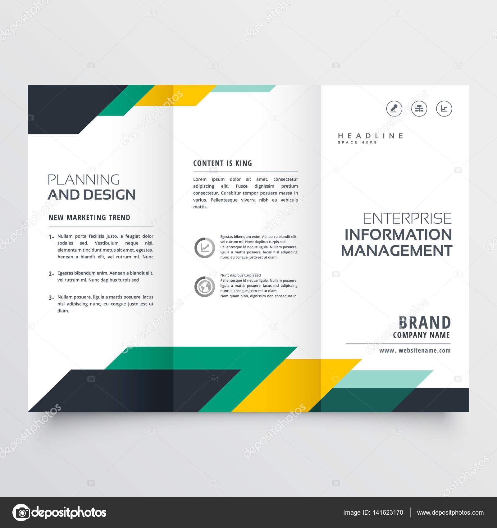 aa3d5dd1f1f18 Diseño de folleto tríptico de negocios con figuras geométricas - triptico  de negocios — Vector de ...