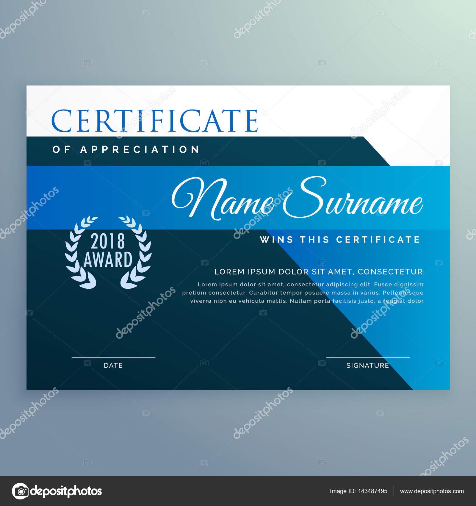 moderne blaue Zertifikat und Award-Design-Vorlage — Stockvektor ...