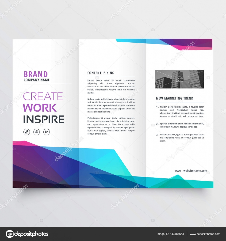 Abstract Colorful Tri Fold Brochure Design Template Stock Vector
