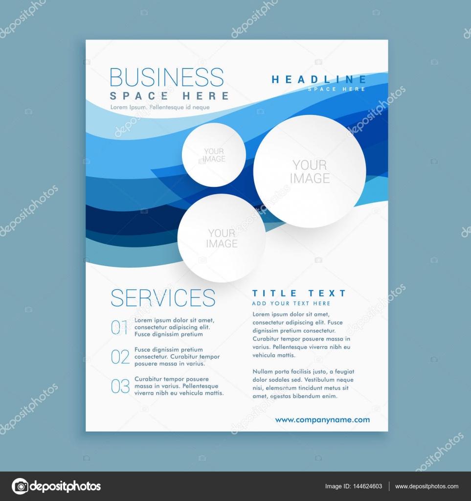 elegante blaue Welle Business Broschüre Flyer Design-Vorlage im A4 ...