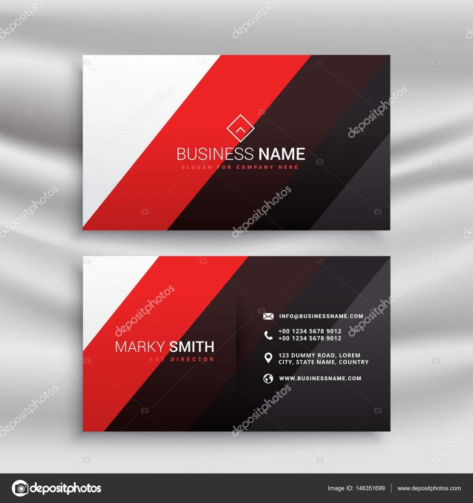 Rot Und Schwarz Minimal Visitenkarten Design Stockvektor