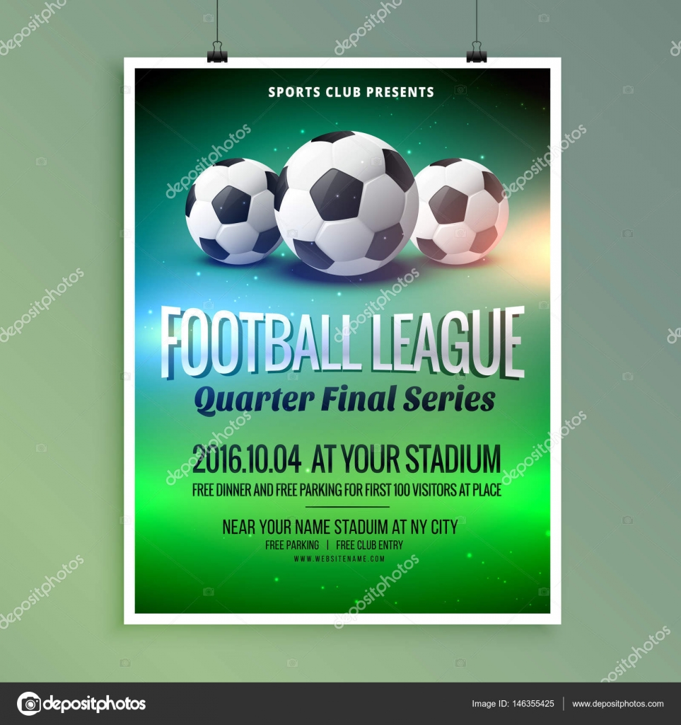 Poster design near me - Football Soccer League Event Flyer Poster Design Template Stock Vector 146355425