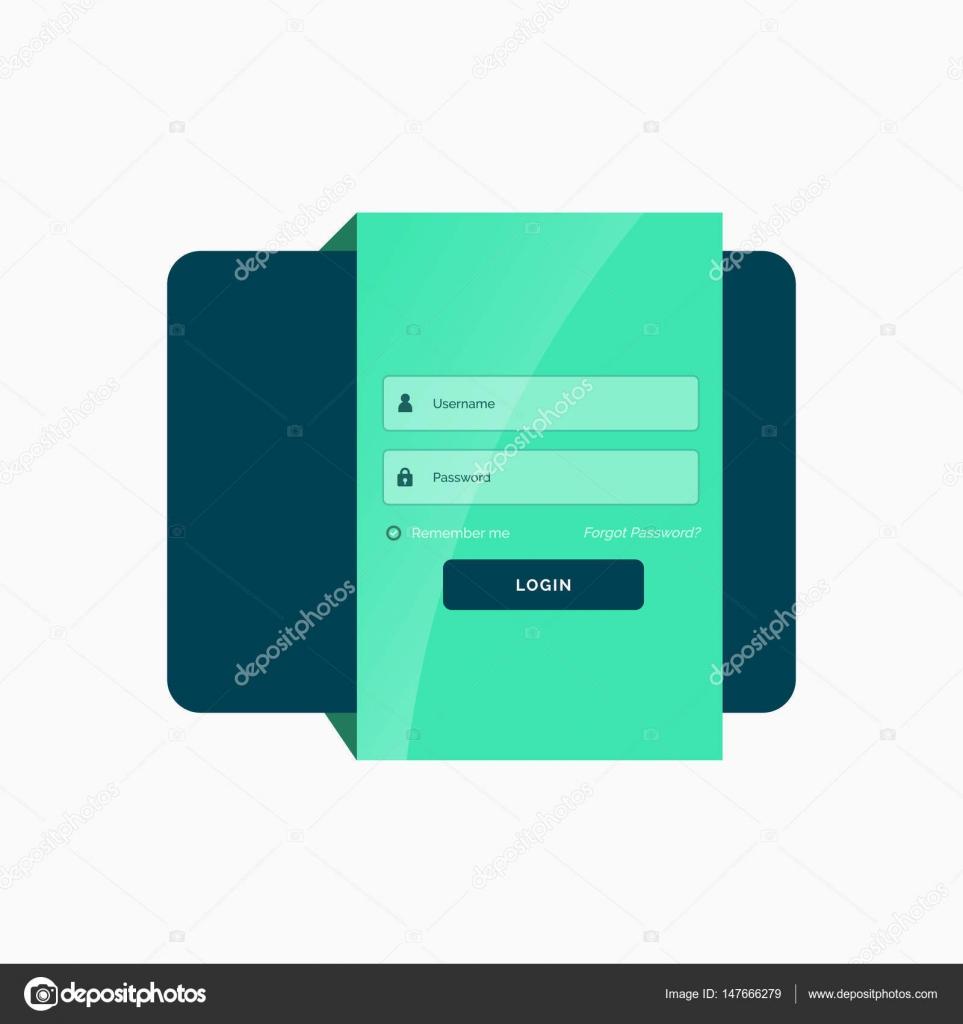 Flat Green Login User Interface Template Design Stock Vector