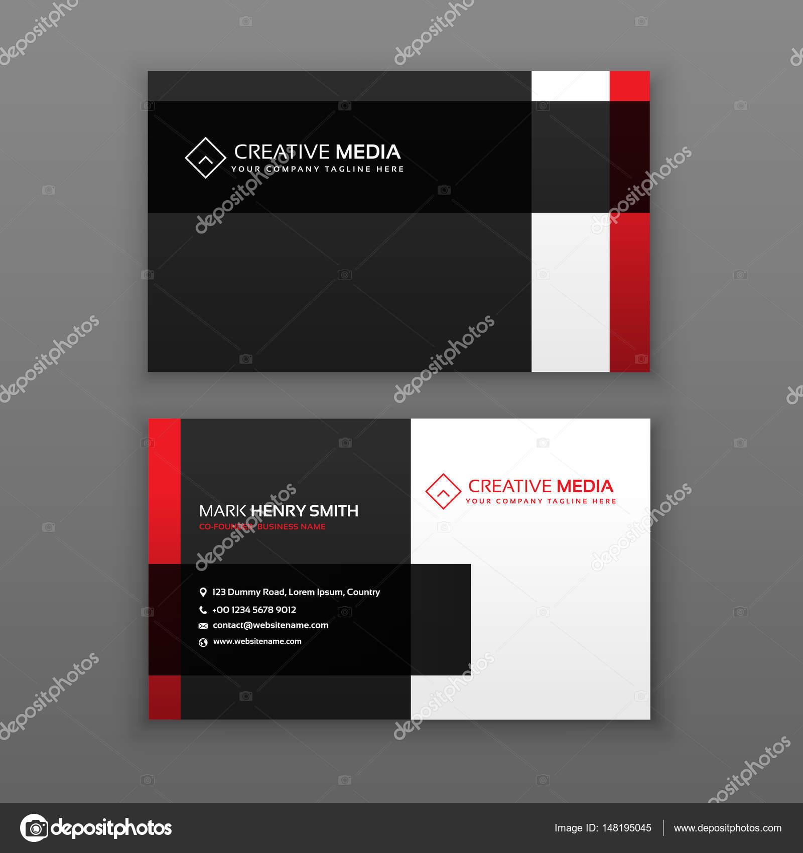 Rot Und Schwarz Professionelle Visitenkarten Design
