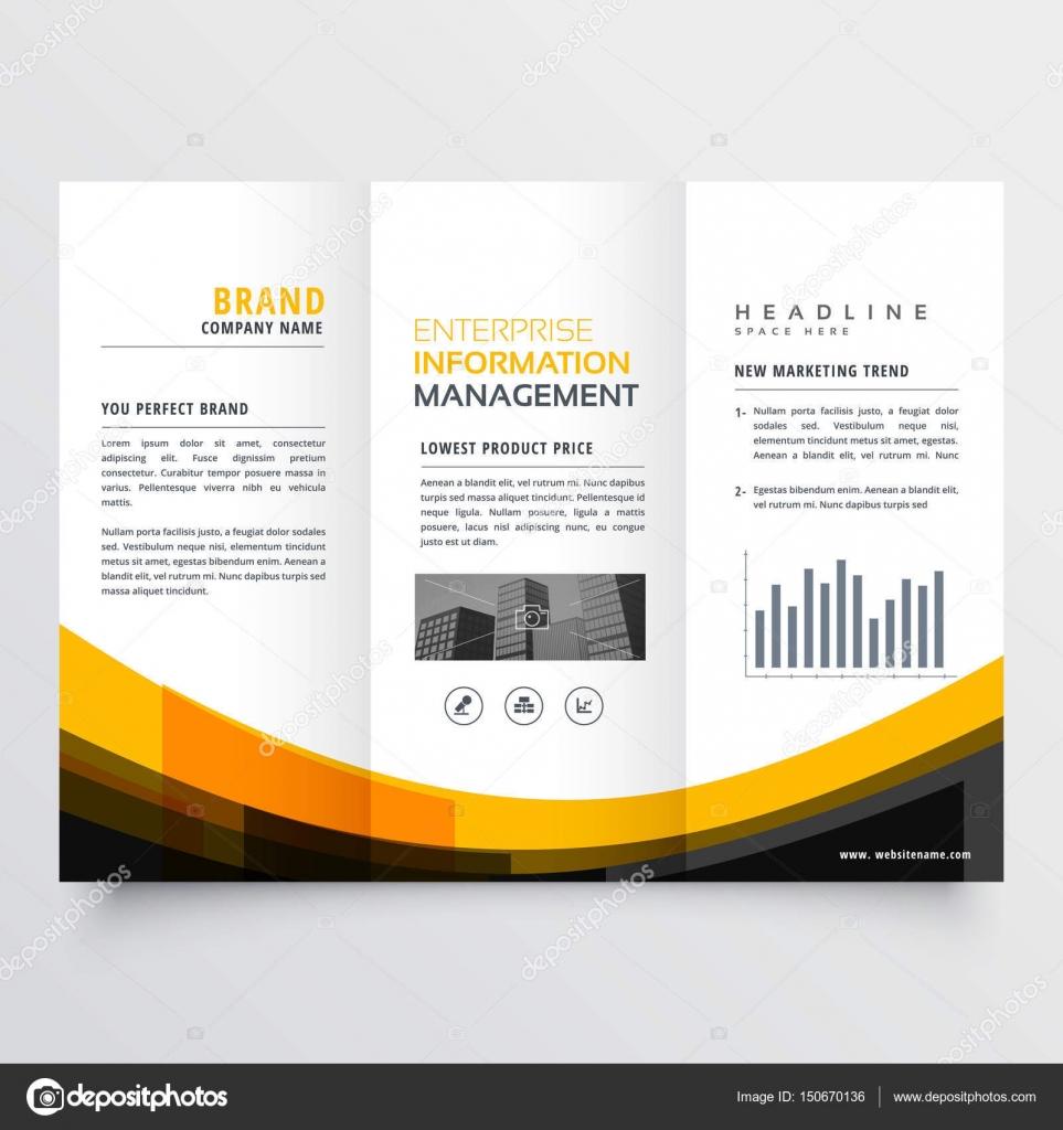 plantilla de diseño de triple negocio folleto flyer folleto — Vector ...