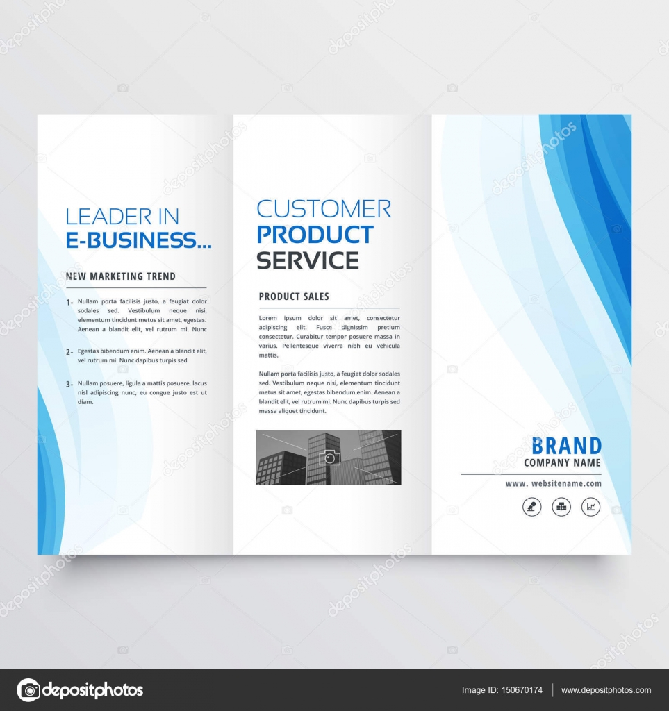 Trifold Brochure Design Template With Blue Wavy Shapes Stock - Tri fold brochure design templates