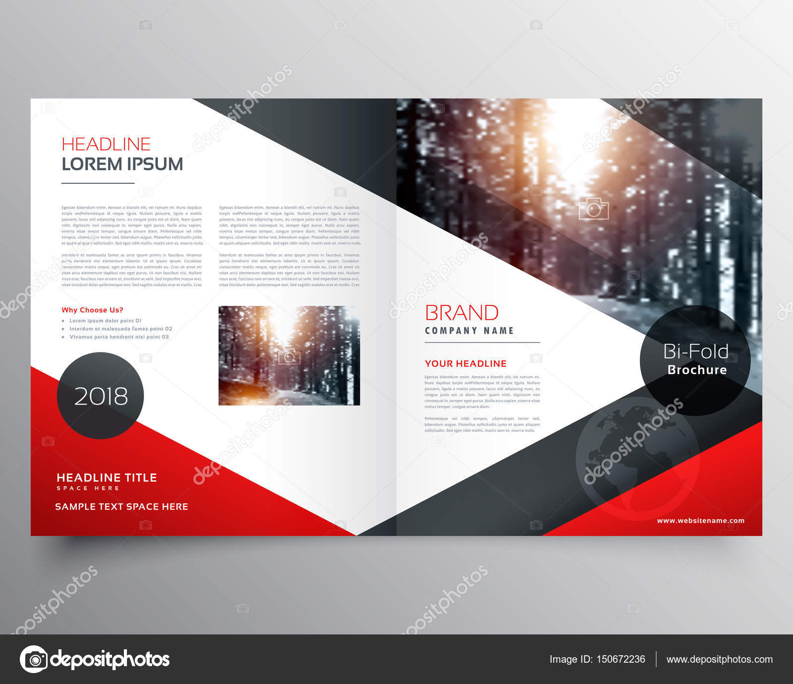 creative red and black bifold brochure or magazine cover page de ...